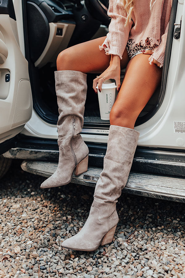 The Aura Faux Suede Boot In Taupe