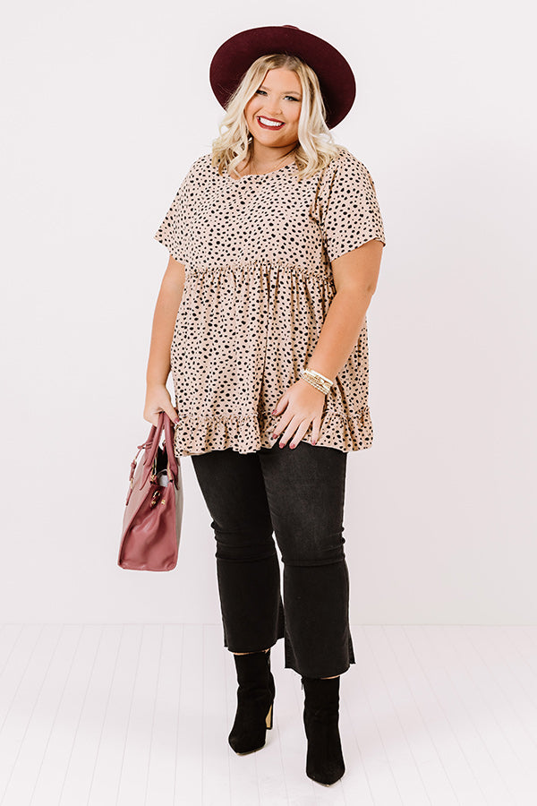 Love Sparks Cheetah Print Shift Top In Iced Latte