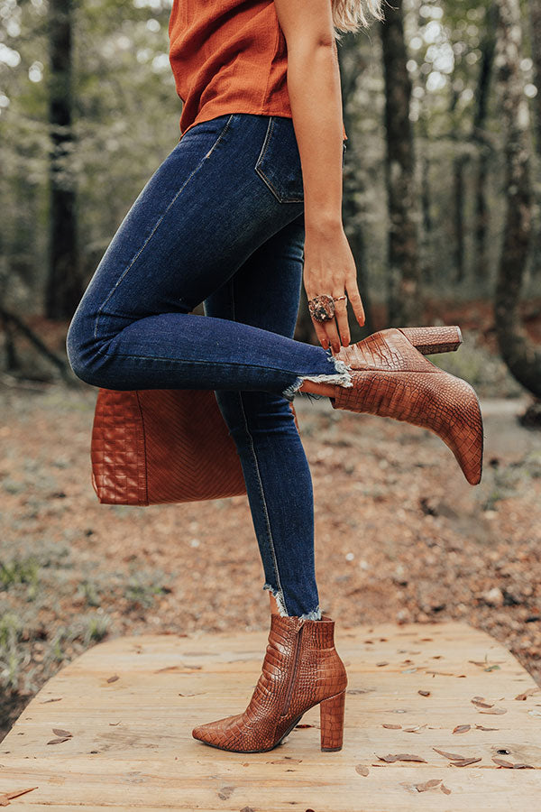 The Cora Faux Leather Bootie In Brown