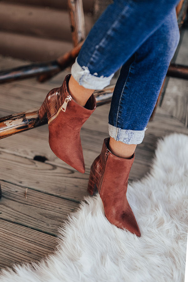 The Bailee Faux Suede Bootie In Rust