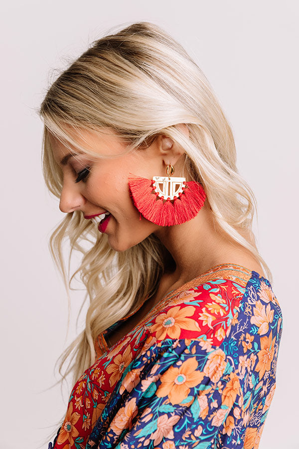 The Carmen Fan Earrings in Red