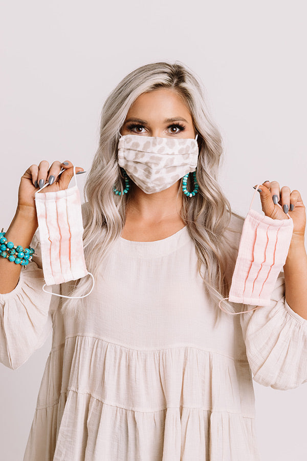 Cotton Mask 3pc Set in Blush