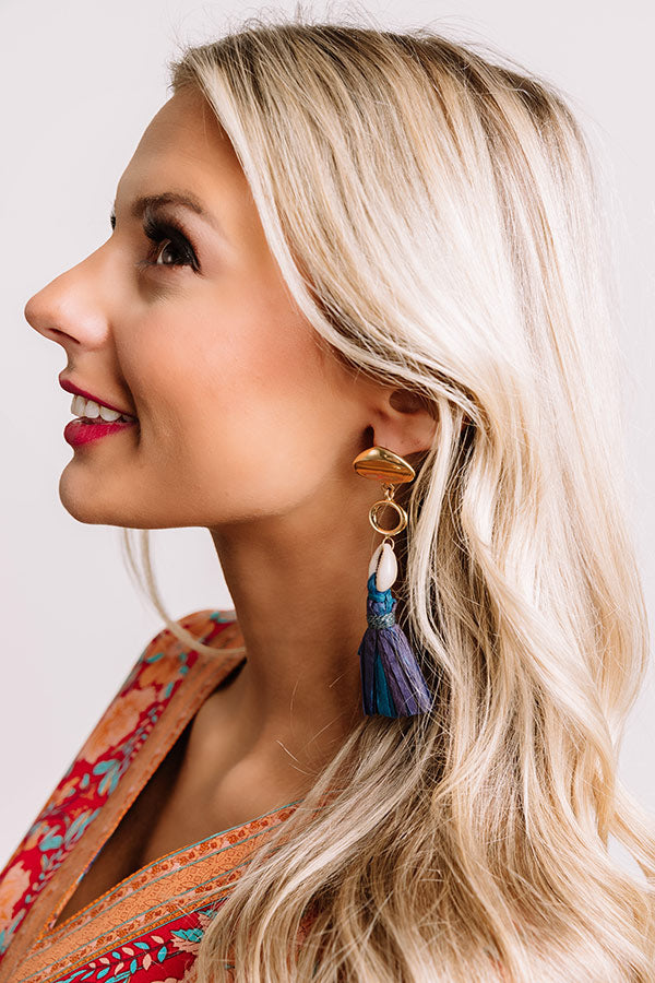 Kingston Tassel Earrings in Blue