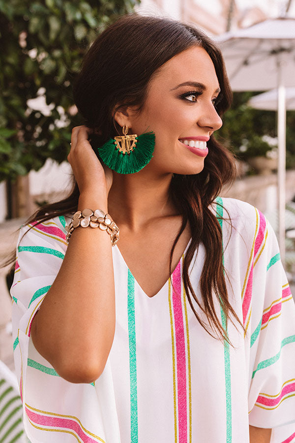 The Carmen Fan Earrings in Green