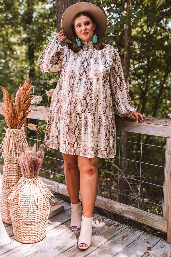 New York Fashion District Snake Print Dress in Brown