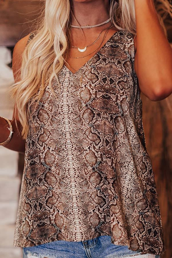 Soho Sights Snake Print Tank in Brown