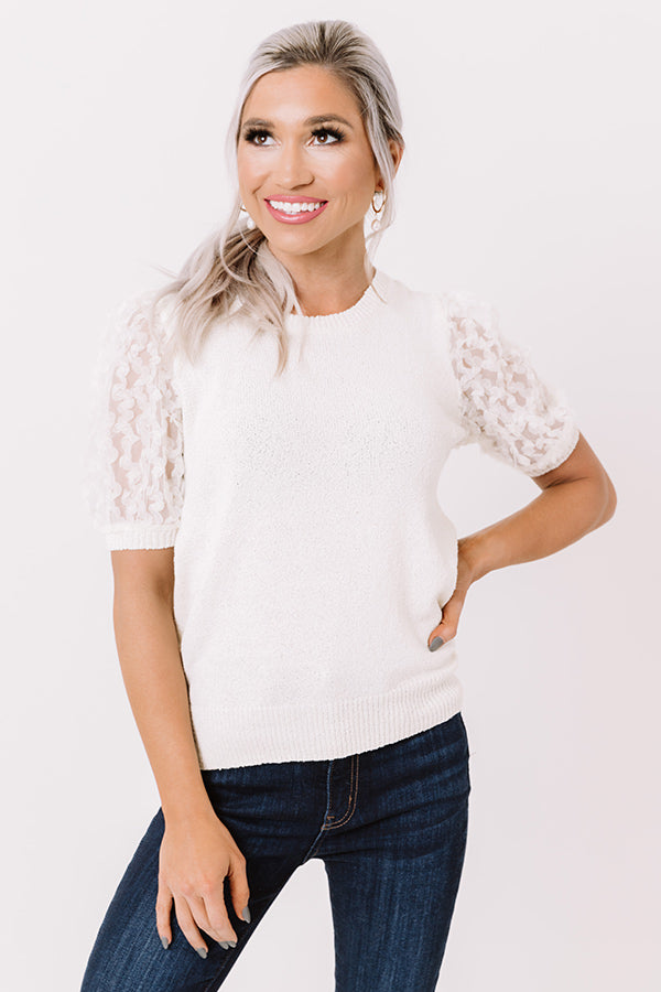 Half Past Noon Knit Top In Ivory