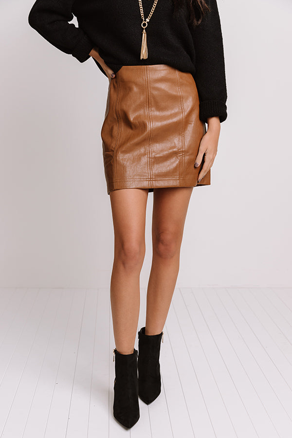 Stroke Of Midnight Faux Leather Skirt In Camel