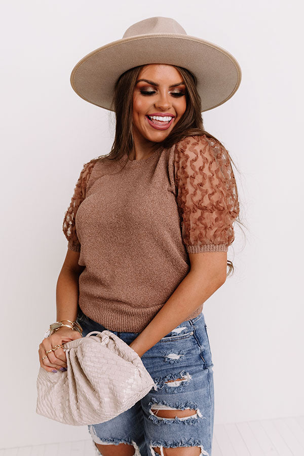 Half Past Noon Knit Top In Mocha