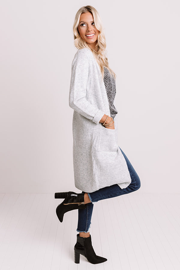 Fall In Fairfax Cardigan In Light Grey