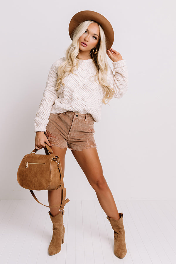 The Helene Distressed Corduroy Shorts In Rust