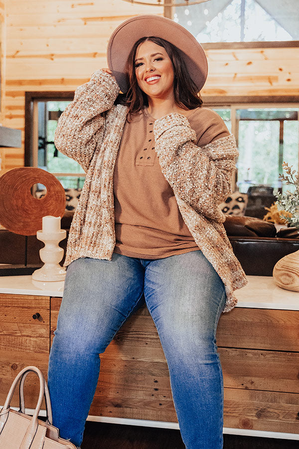Pumpkin Patch Cozy Knit Cardigan In Warm Taupe