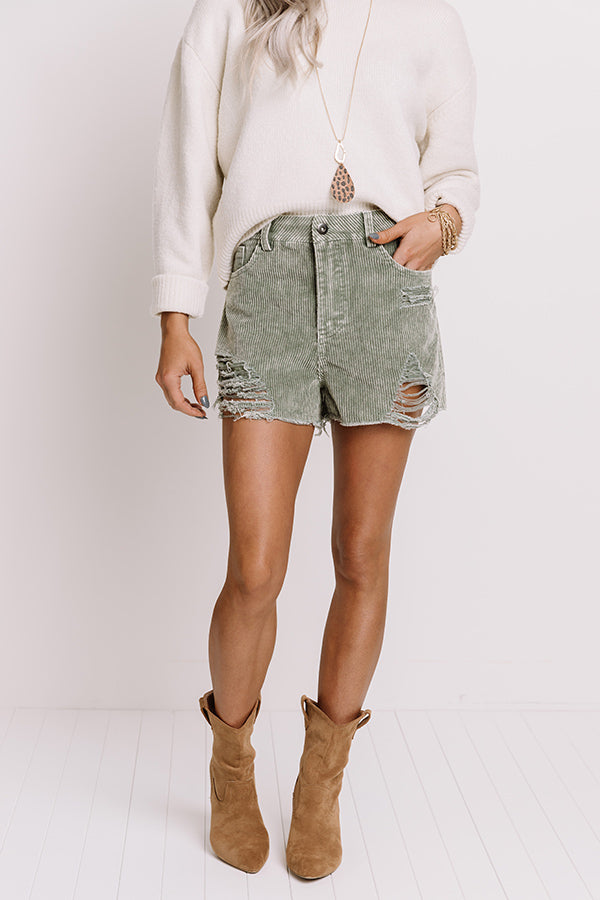 The Helene Distressed Corduroy Shorts In Pear