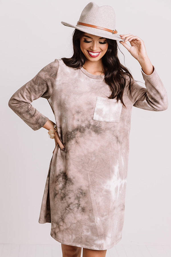 Calling Out Tie Dye Shift Dress in Taupe
