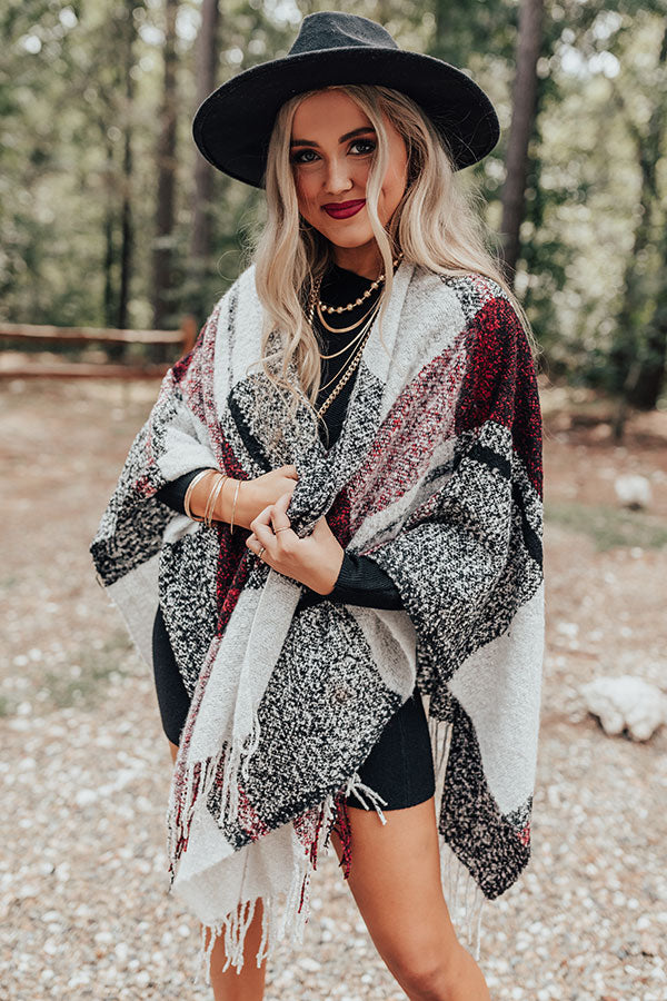 Cozy Up Fireside Plaid Poncho In Red