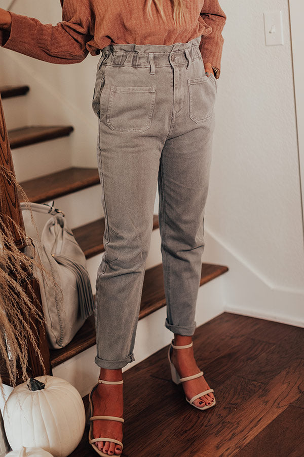 The Levy High Waist Pants In Grey