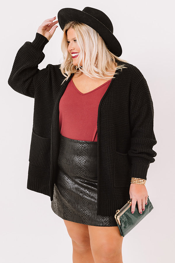 Fall Hike Knit Cardigan In Black