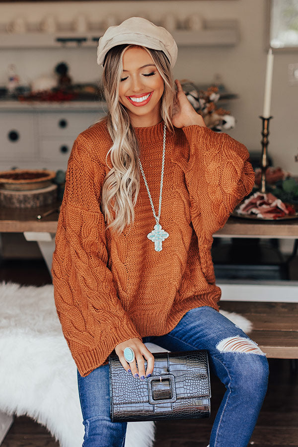 Windchill Cable Knit Sweater In Pumpkin