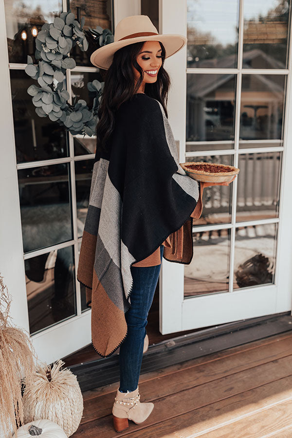 Rooftop Kisses Color Block Poncho