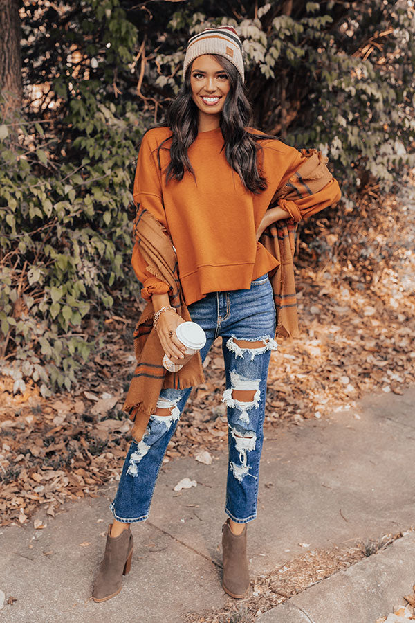 To The Mountains Sweatshirt In Pumpkin