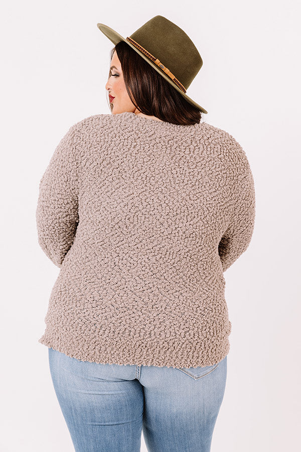 Crunching Leaves Popcorn Knit Sweater In Taupe