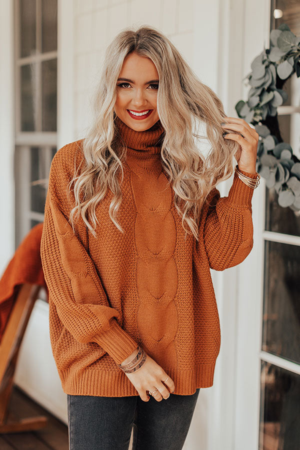 Chilly Vibes Knit Sweater In Pumpkin