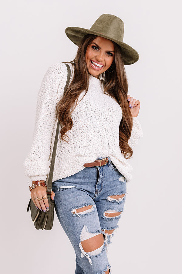 Crunching Leaves Popcorn Knit Sweater In White