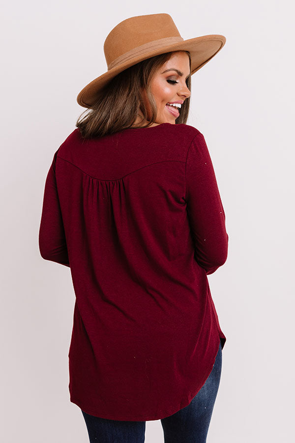 Vivid Autumn Shift Top In Merlot