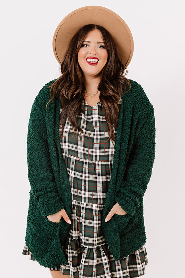 Snug A Little Closer Popcorn Knit Cardigan In Hunter Green