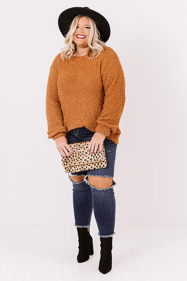 Crunching Leaves Popcorn Knit Sweater In Pumpkin