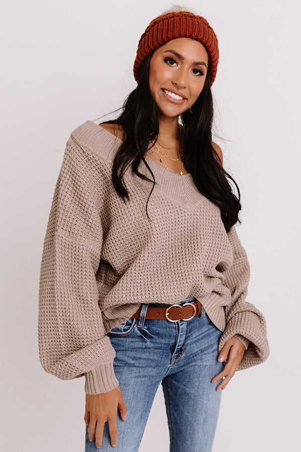 Aspen All Over Knit Sweater In Warm Taupe
