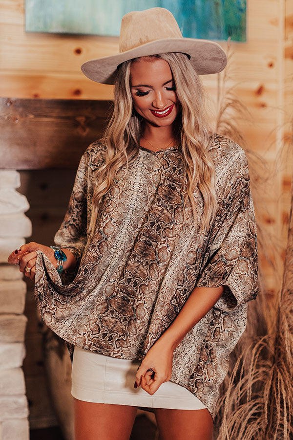 At The After Party Snake Print Shift Tunic in Brown