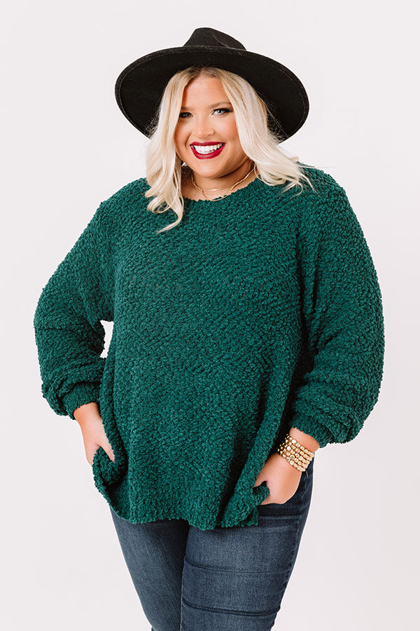 Crunching Leaves Popcorn Knit Sweater In Emerald