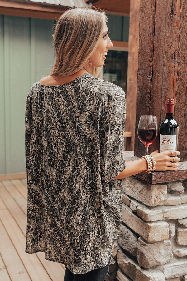 At The After Party Snake Print Shift Tunic in Forest