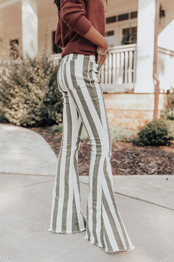 The Serina High Waist Flares In Sage