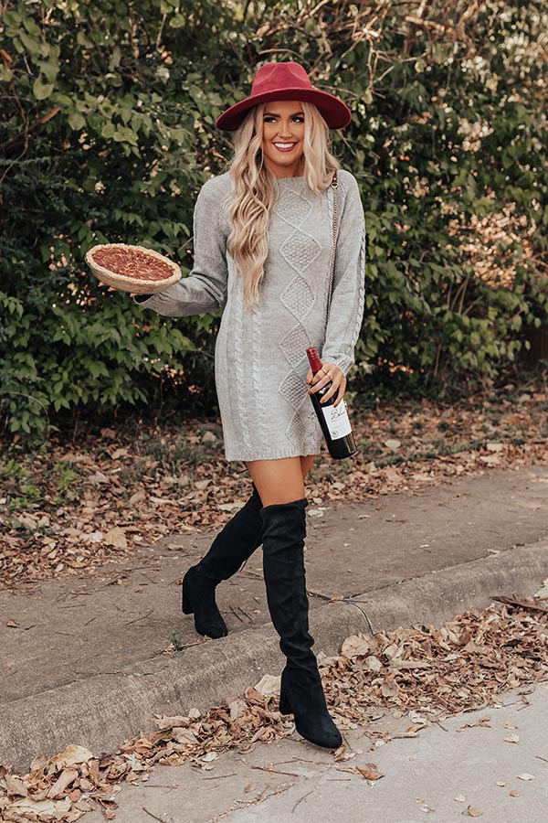 Peak Season Sweater Dress In Grey