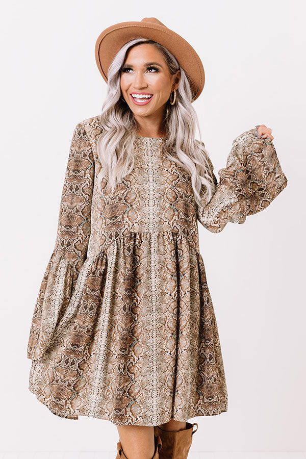 Best In Show Snake Print Babydoll Dress In Brown