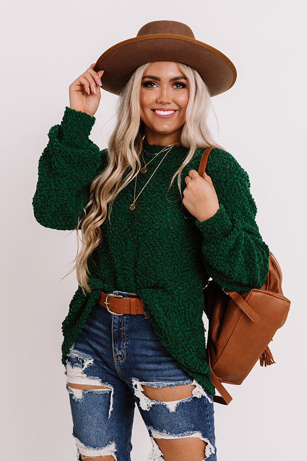 Crunching Leaves Popcorn Knit Sweater In Green