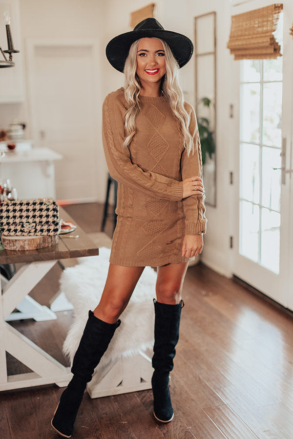 Peak Season Sweater Dress In Mocha