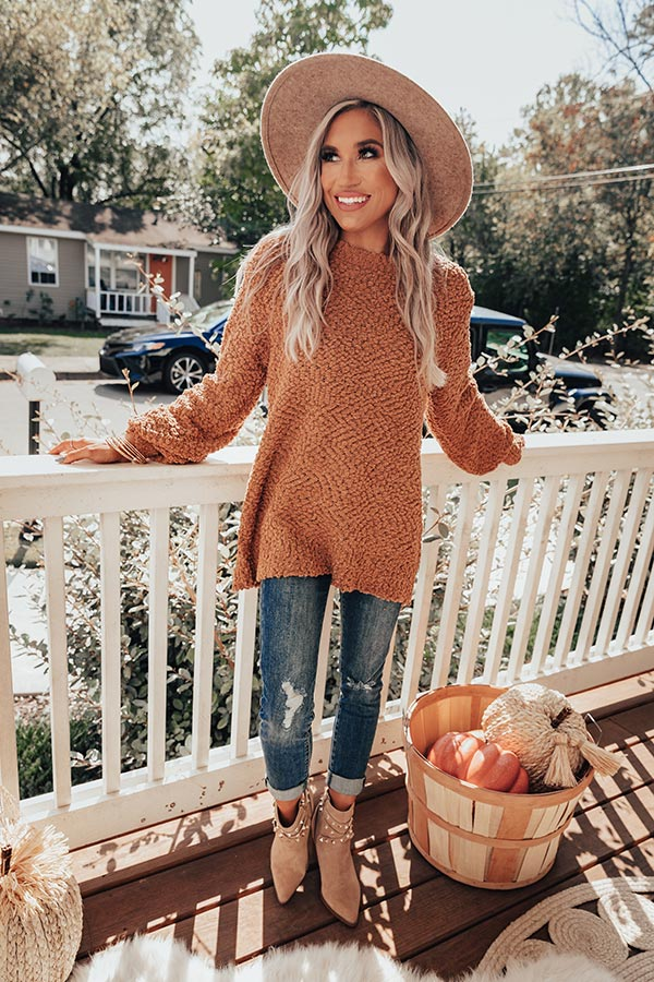 Crunching Leaves Popcorn Knit Sweater In Iced Mocha
