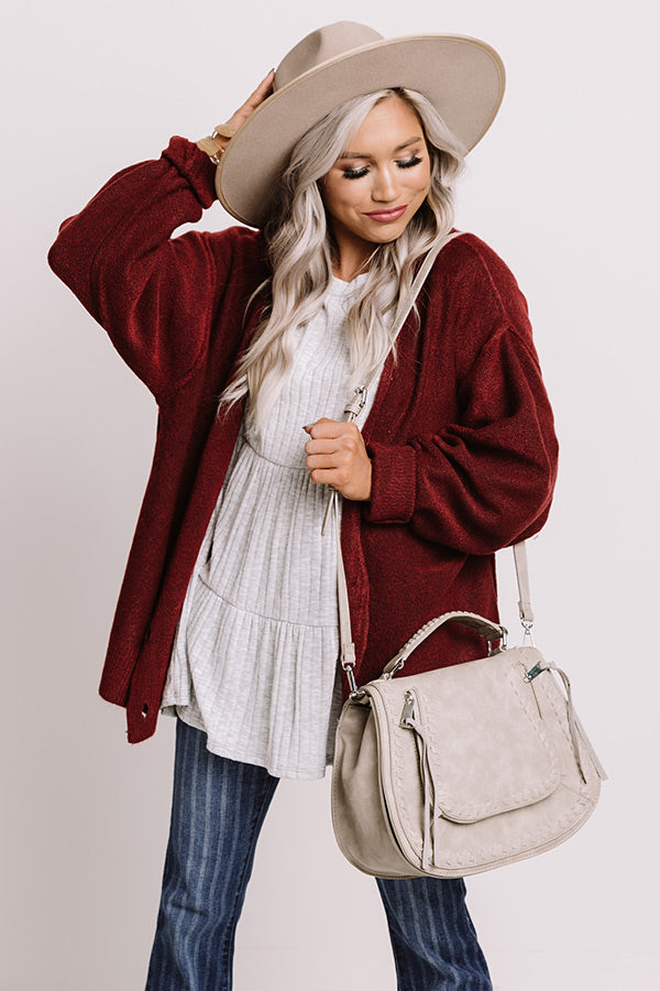 Dear Autumn Cardigan In Wine