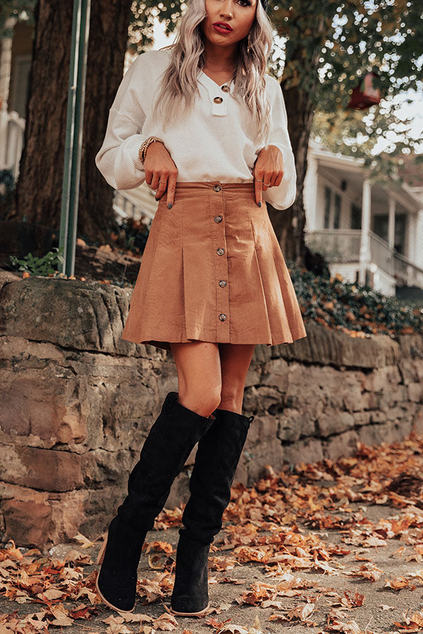 Now And Later Button Up Skirt In Iced Mocha
