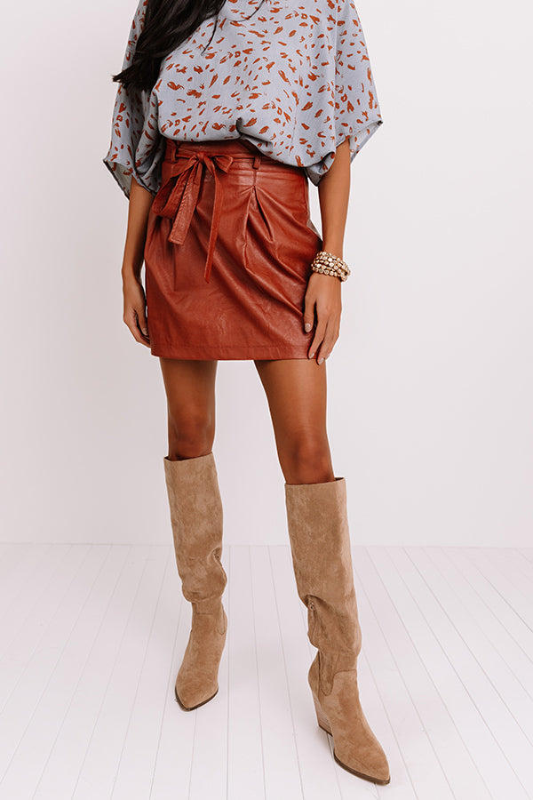 On Your Side Faux Leather Skirt In Rust