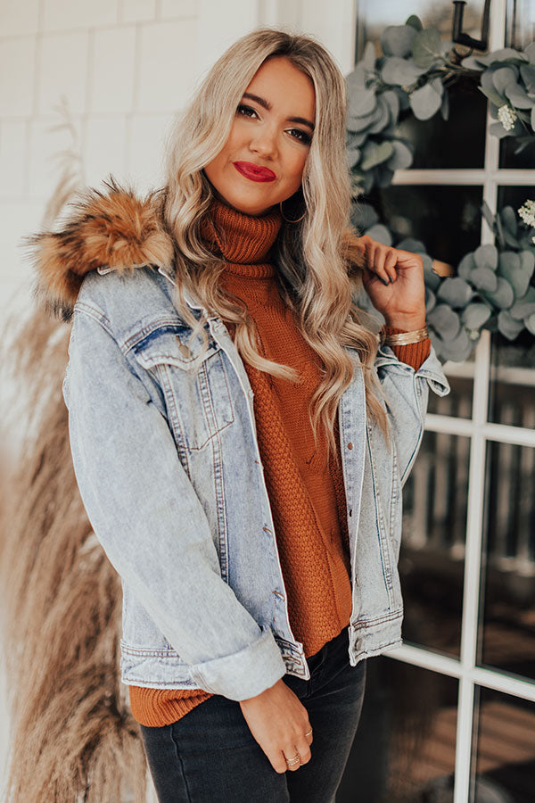 French Accent Fur Collared Denim Jacket