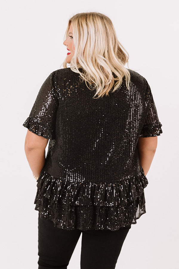 Counting Down To Kisses Sequin Top In Black