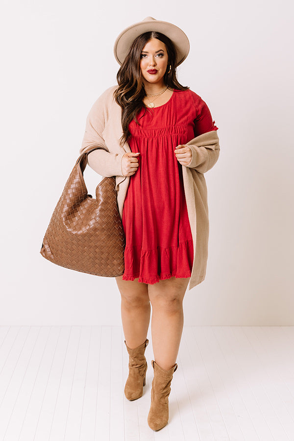Guest List Babydoll Dress in Red