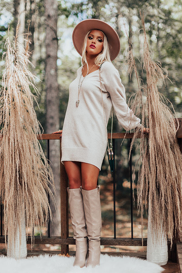 Keep Dreaming Chenille Sweater Dress In Stone