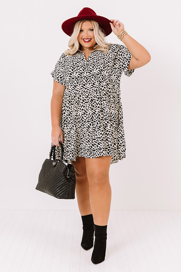 Swoon And Sway Leopard Shift Dress Ivory