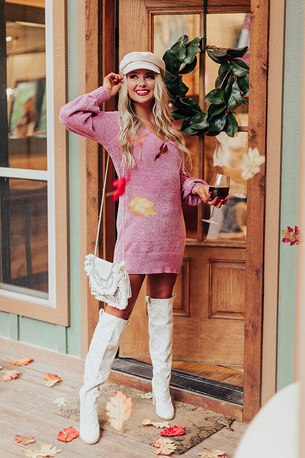 Keep Dreaming Chenille Sweater Dress In Vineyard Grape