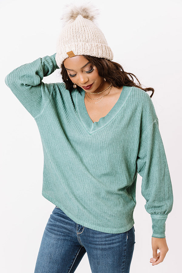 Woodsy Path Waffle Knit Top In Pear